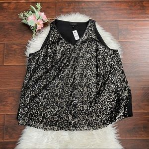 NEW Lane Bryant Black and Gold Sequin Tank